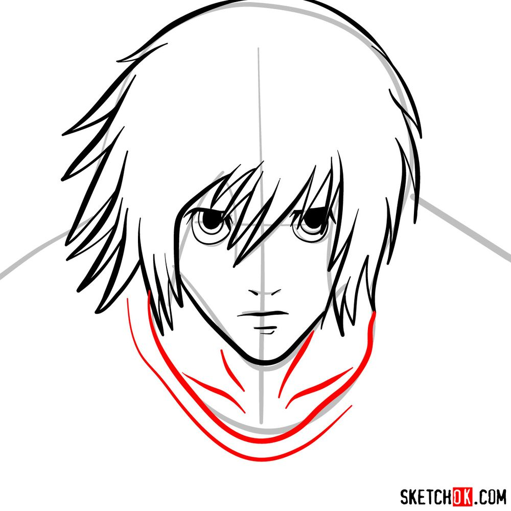 How to draw L Lawliet's face - step 07