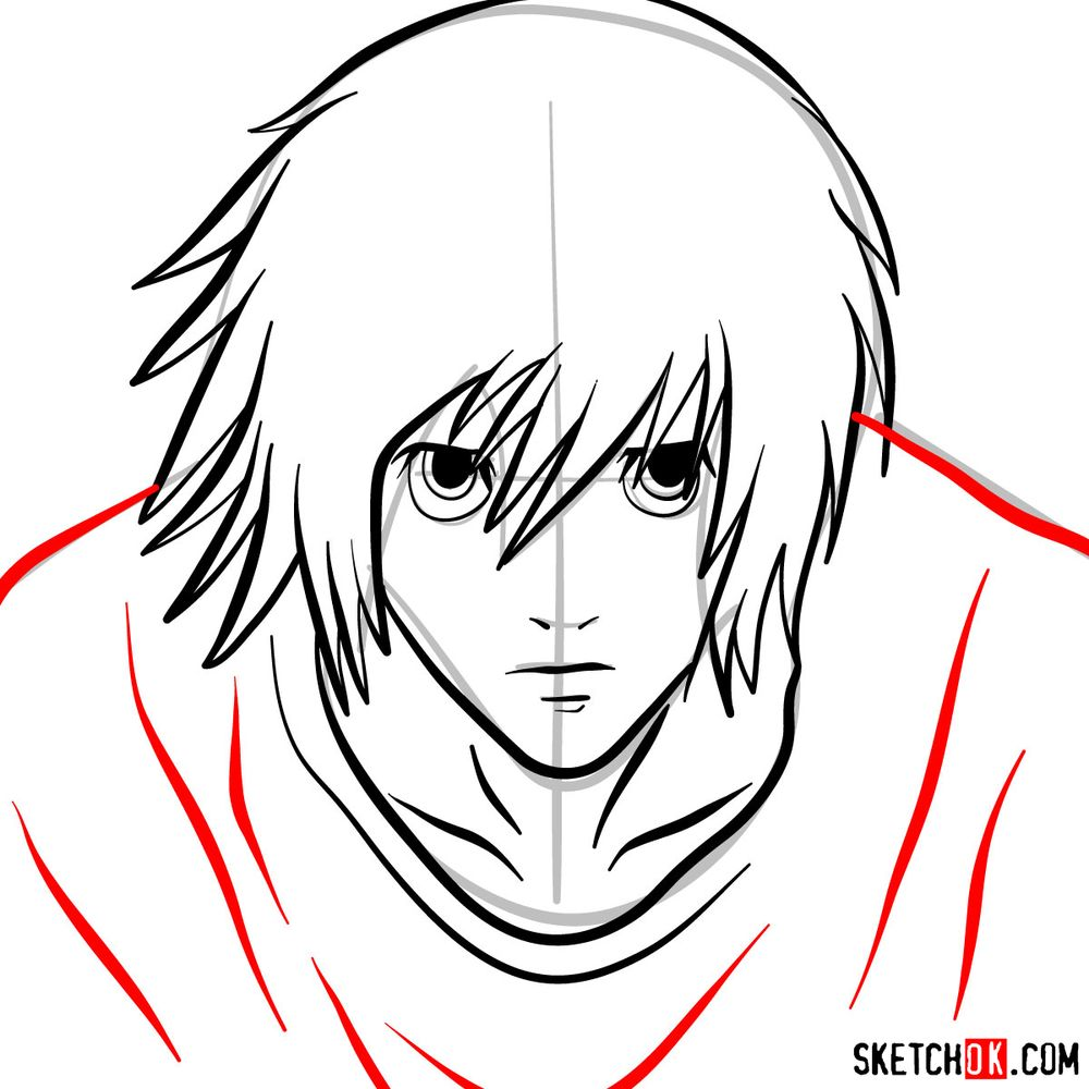 How to draw L Lawliet's face - step 08
