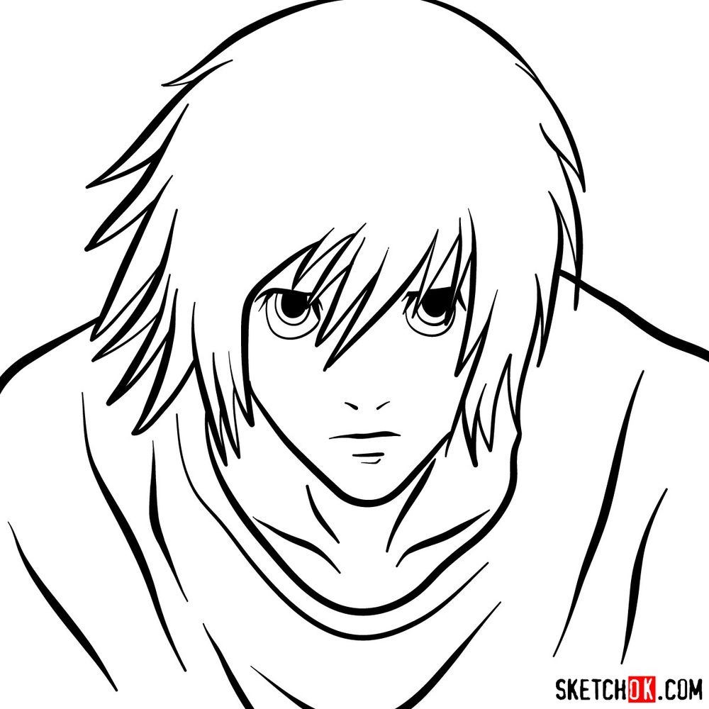 How to draw L Lawliet's face - step 09