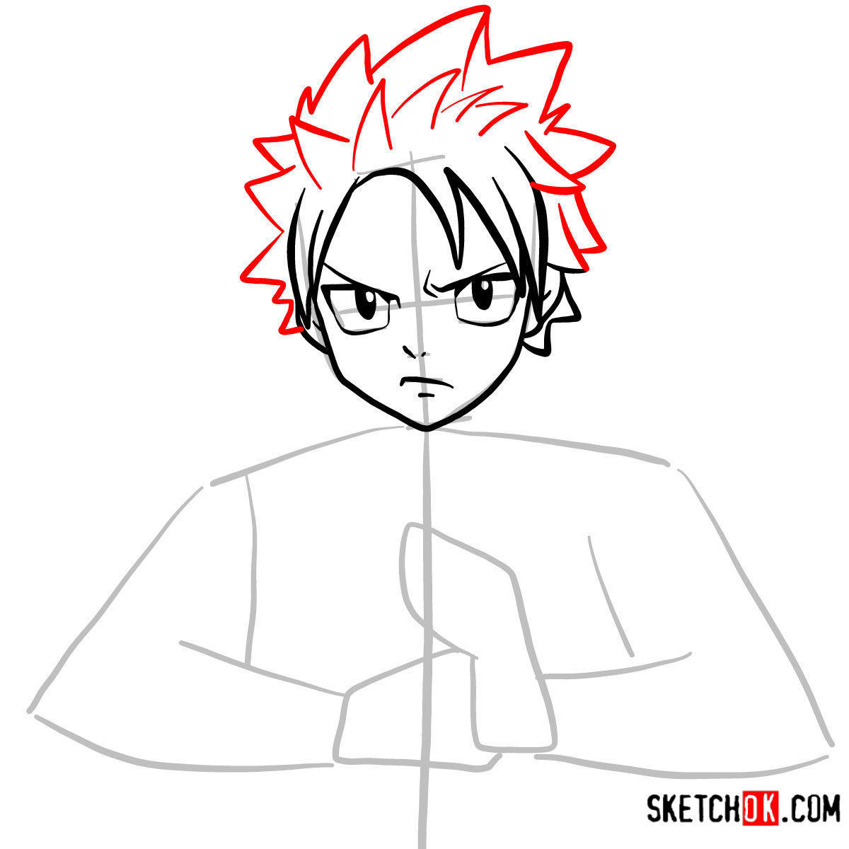 How to draw Natsu Dragneel's face | Fairy Tail - step 05