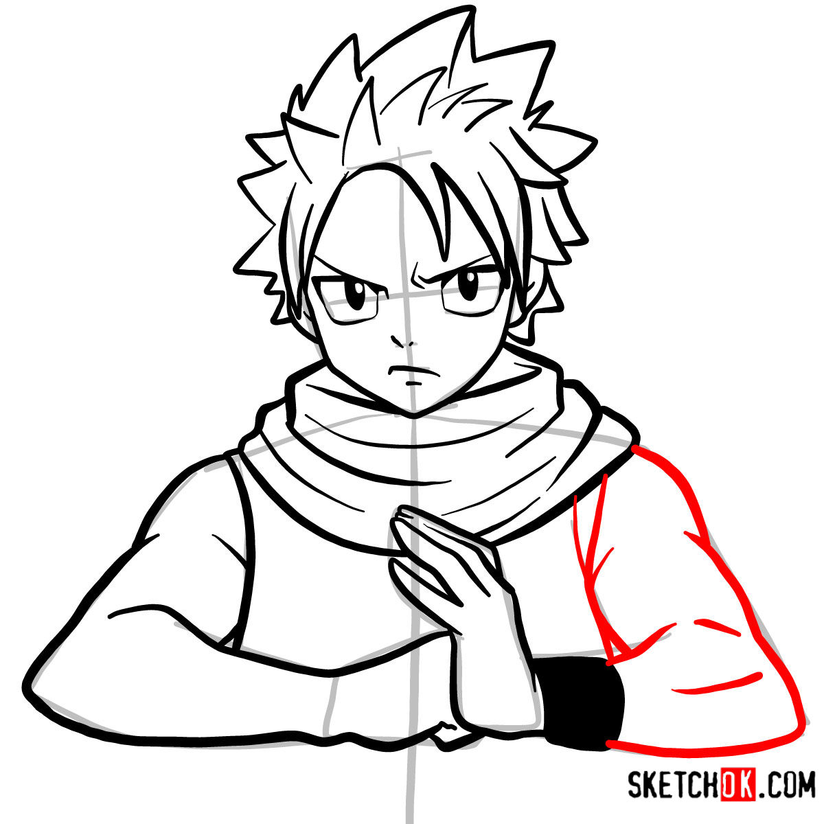 How to draw Natsu Dragneel's face | Fairy Tail - step 09