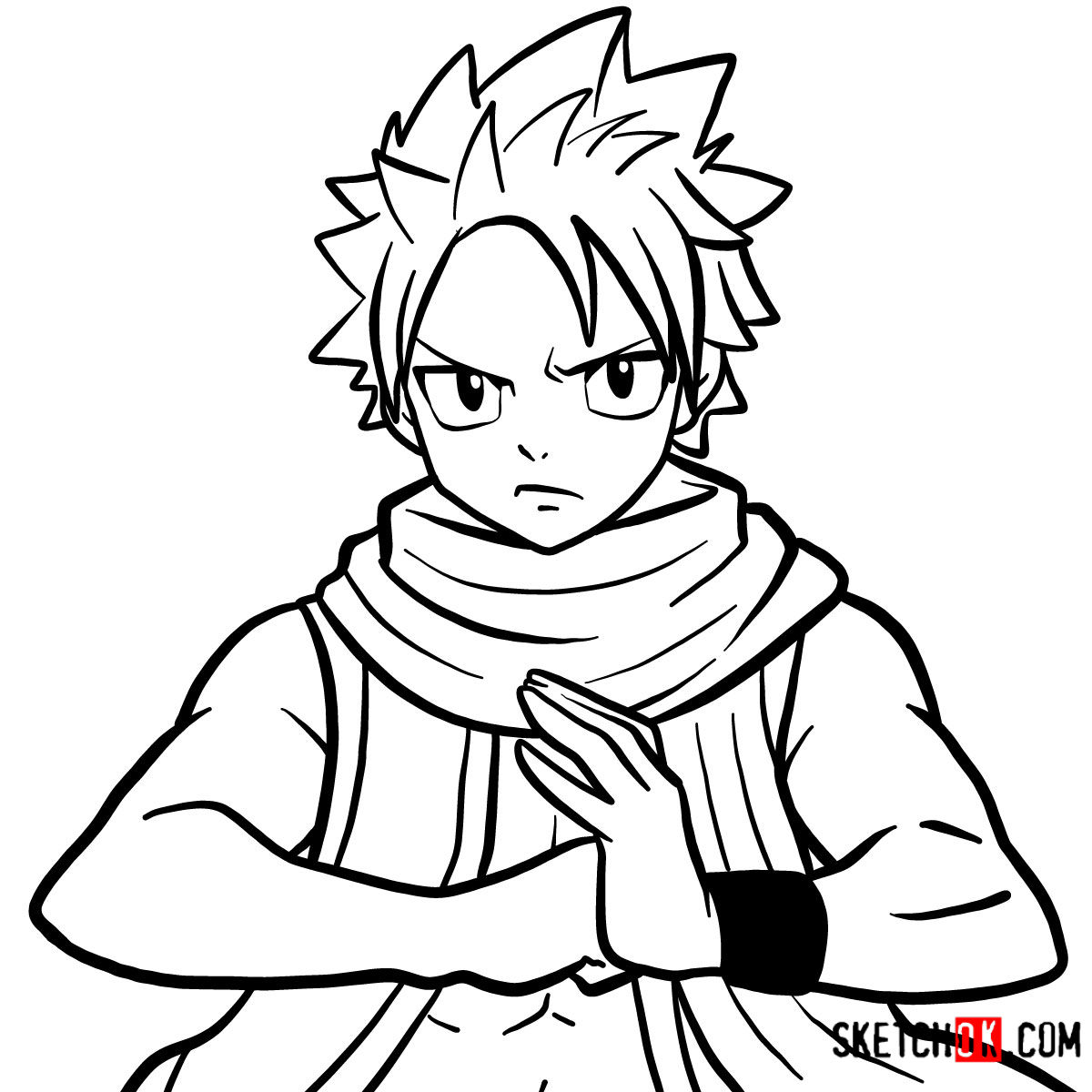 How to draw Natsu Dragneel's face | Fairy Tail