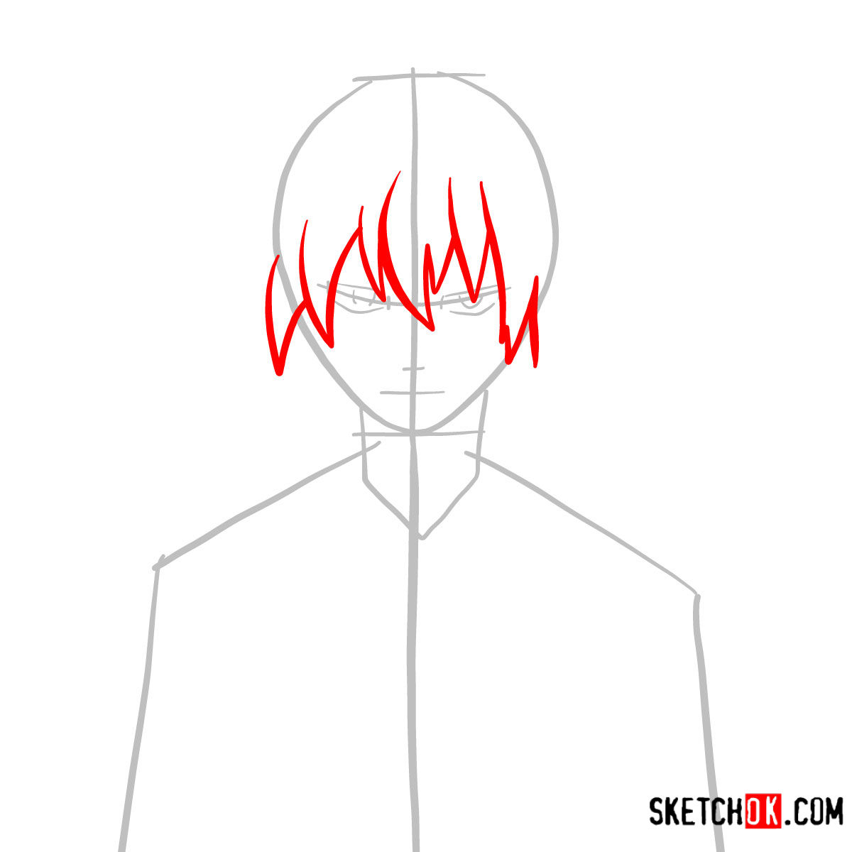 How to draw Jellal Fernandes's face | Fairy Tail - step 03