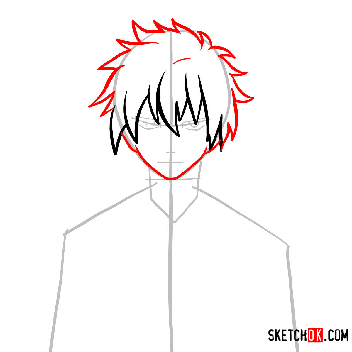 How to draw Jellal Fernandes's face | Fairy Tail - step 04