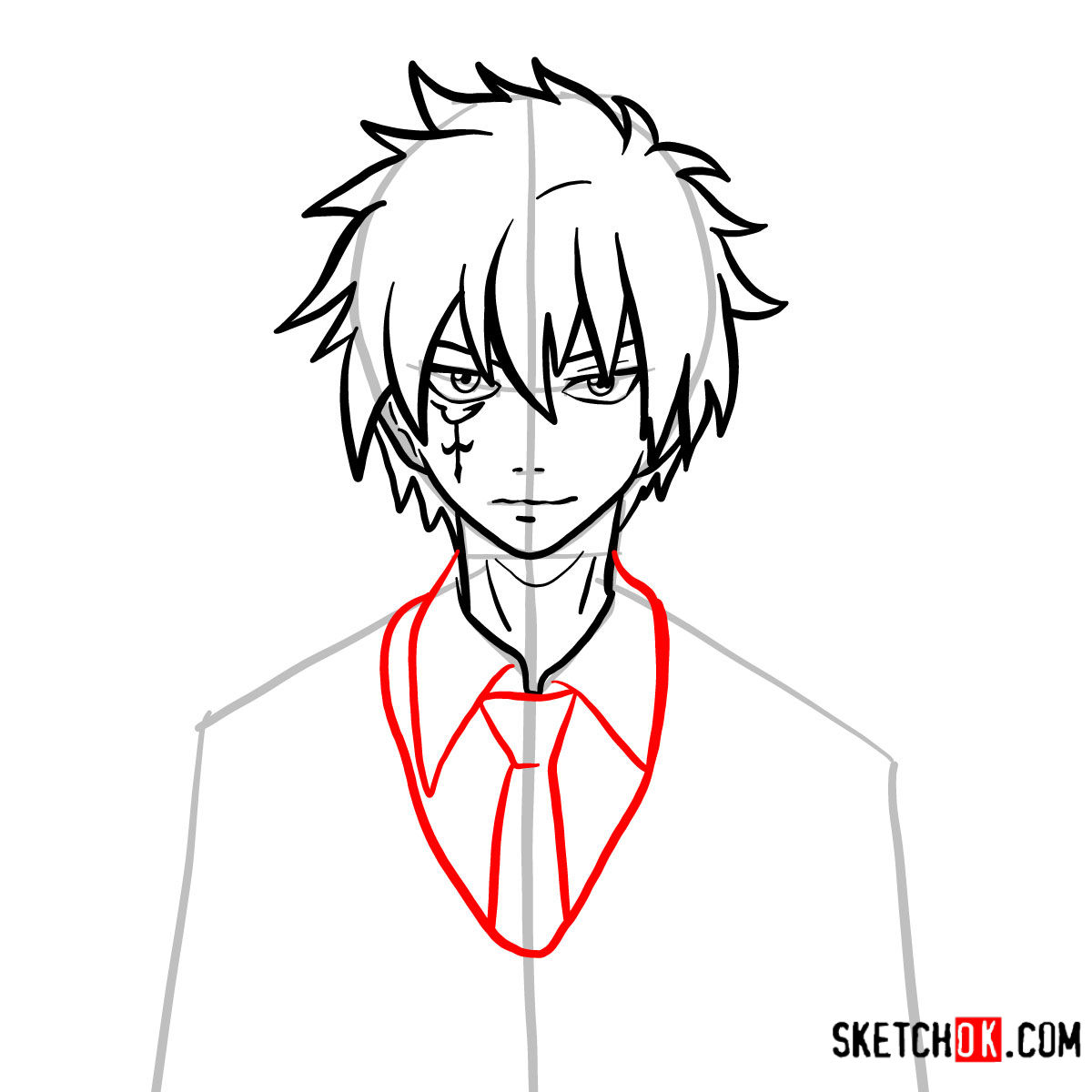 How to draw Jellal Fernandes's face | Fairy Tail - step 08