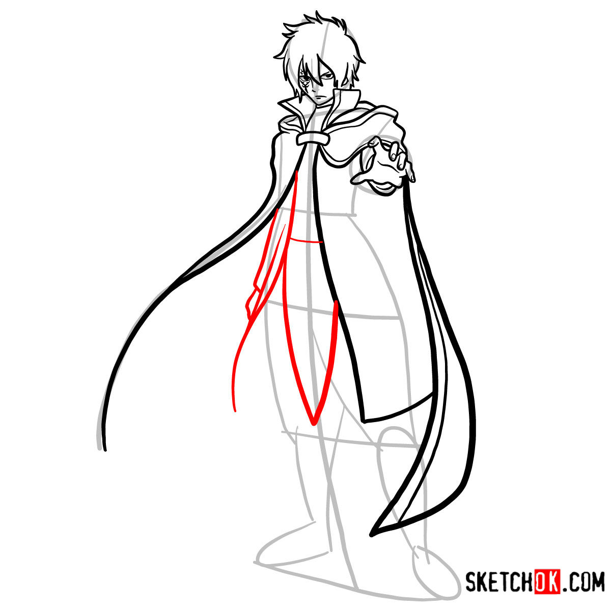 How to draw Jellal Fernandes full growth | Fairy Tail - step 12