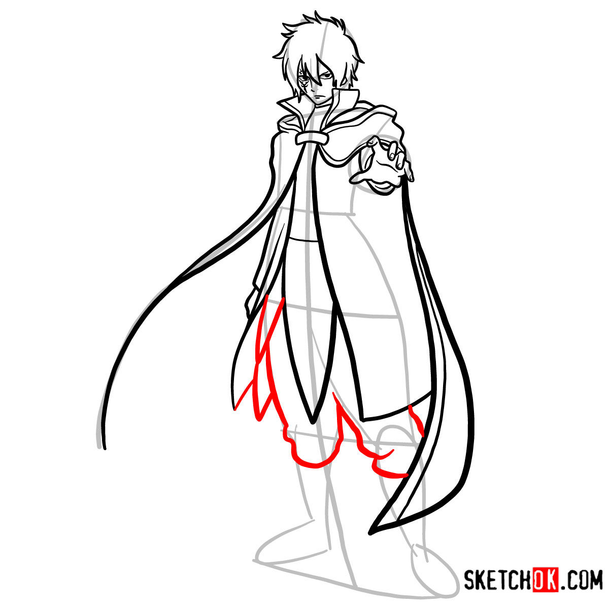 How to draw Jellal Fernandes full growth | Fairy Tail - step 13