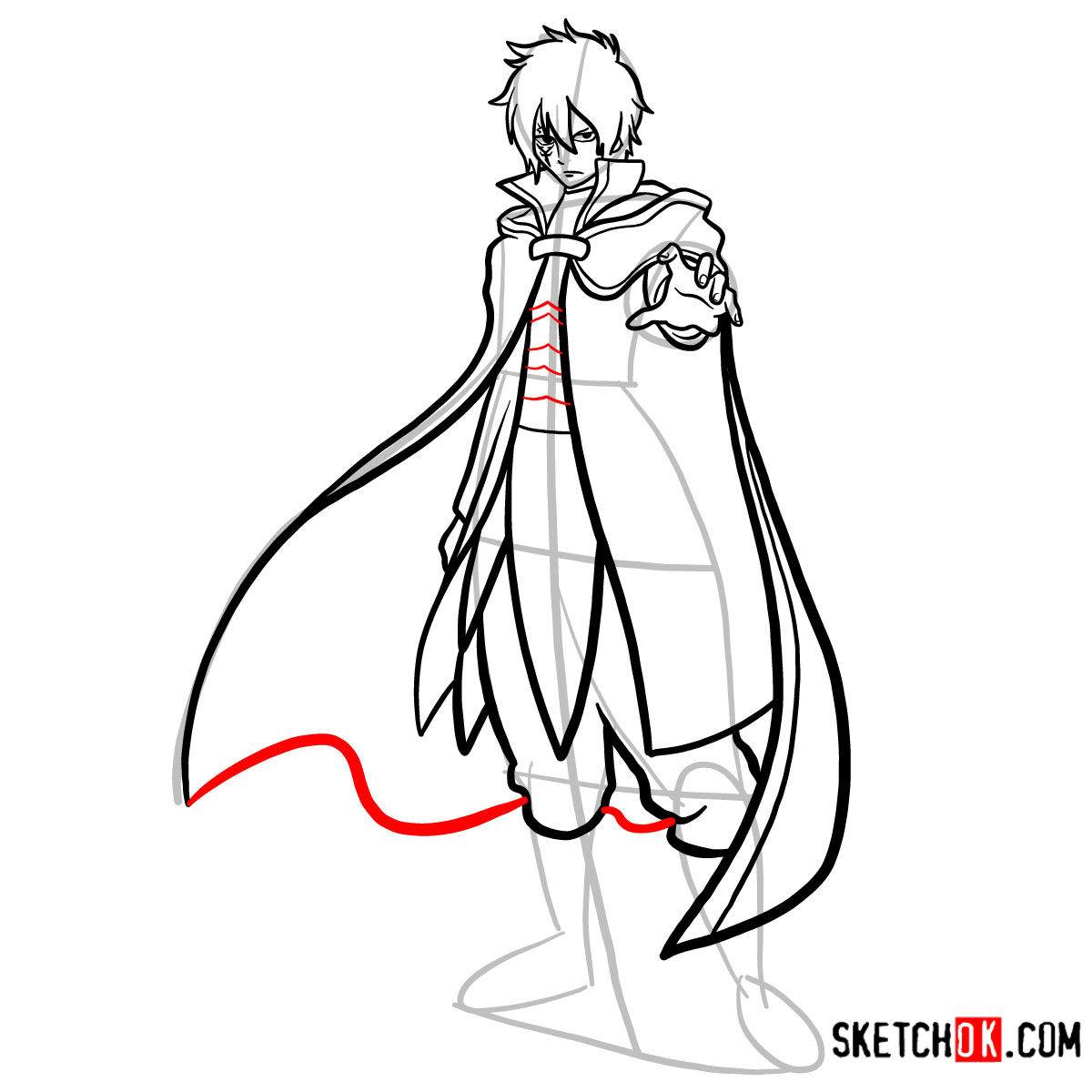 How to draw Jellal Fernandes full growth | Fairy Tail - step 14
