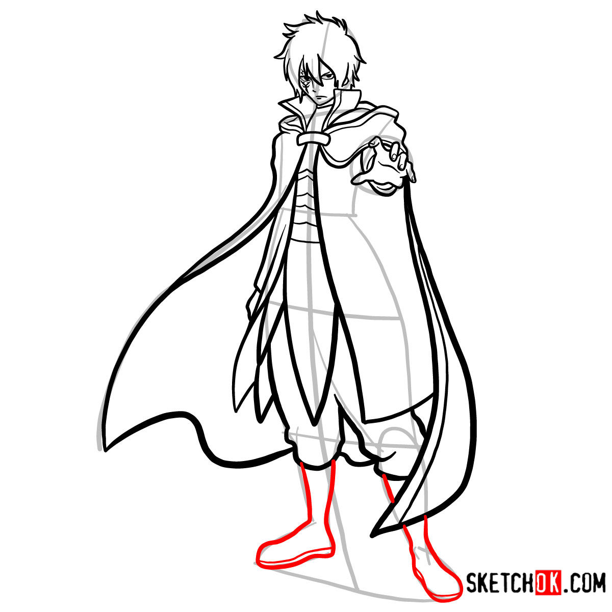 How to draw Jellal Fernandes full growth | Fairy Tail - step 15