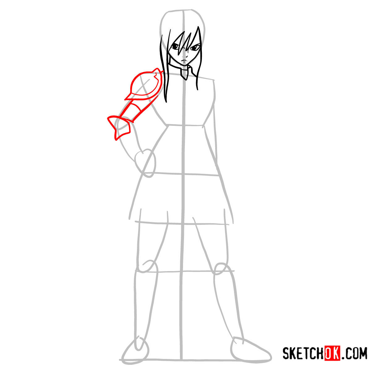 15 steps drawing tutorial of Erza Scarlet (fairy tail) - step 06