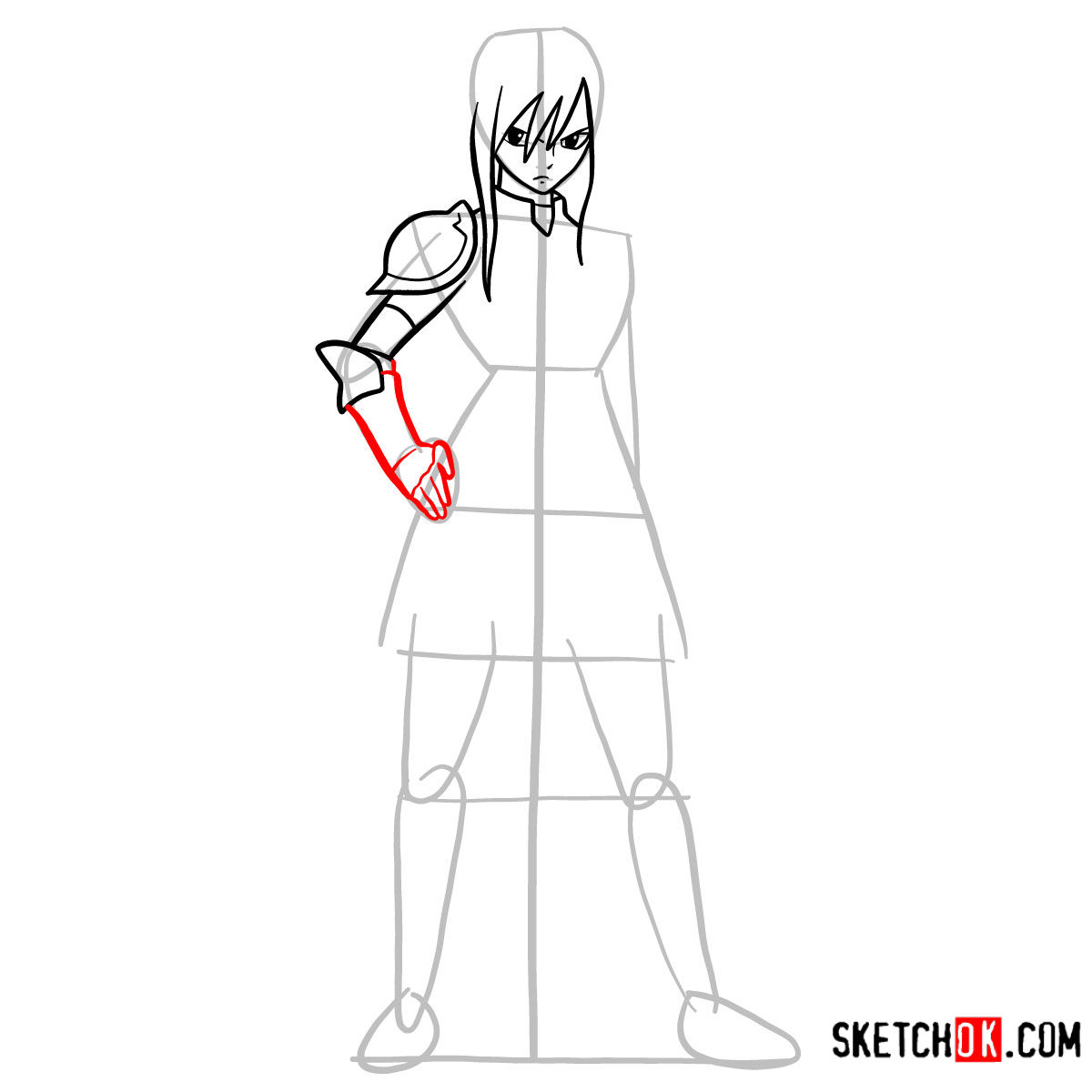 15 steps drawing tutorial of Erza Scarlet (fairy tail) - step 07