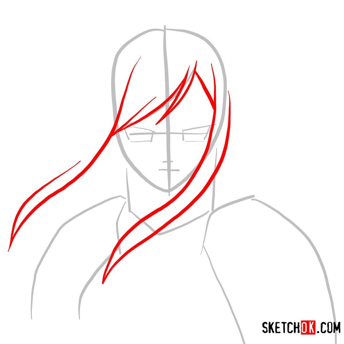 How to draw Erza Scarlet's portrait | Fairy Tail - step 02