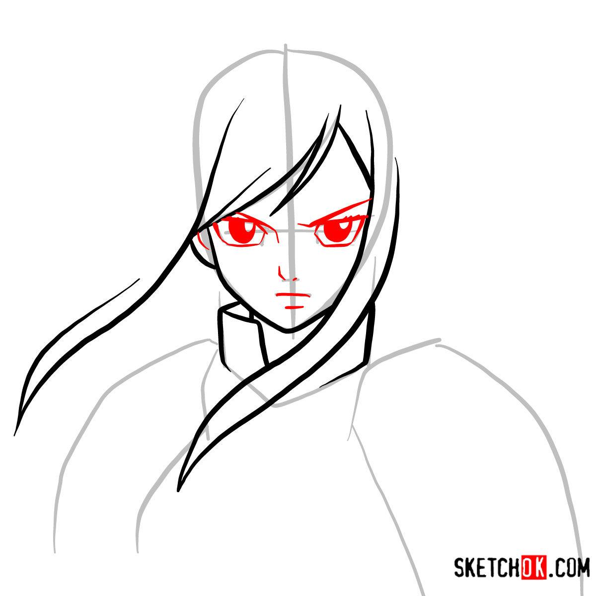 How to draw Erza Scarlet's portrait | Fairy Tail - step 04