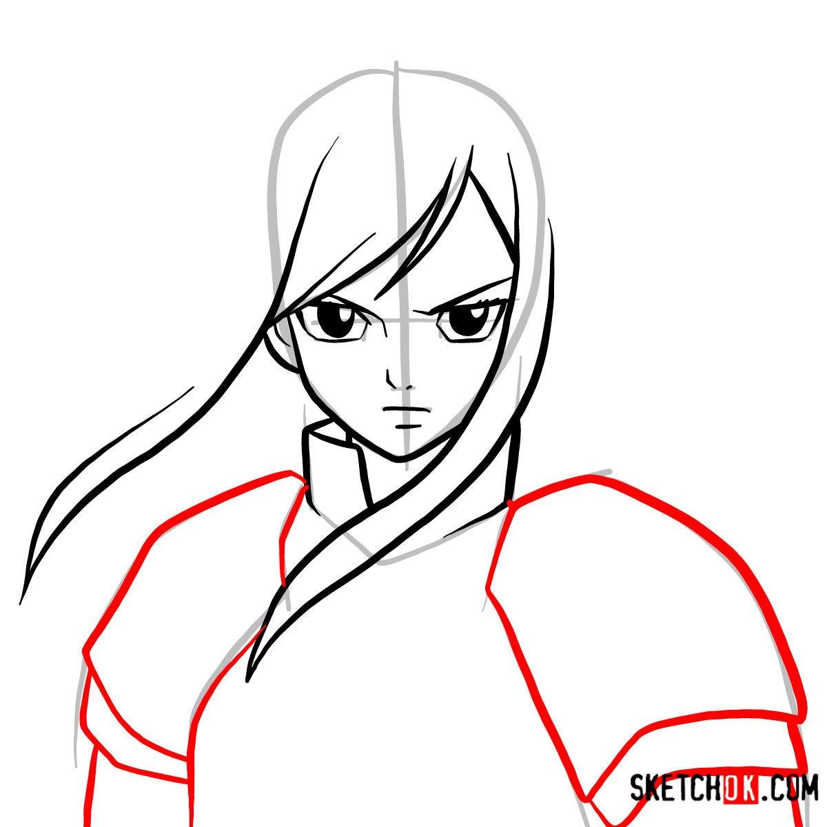 How to draw Erza Scarlet's portrait | Fairy Tail - step 05