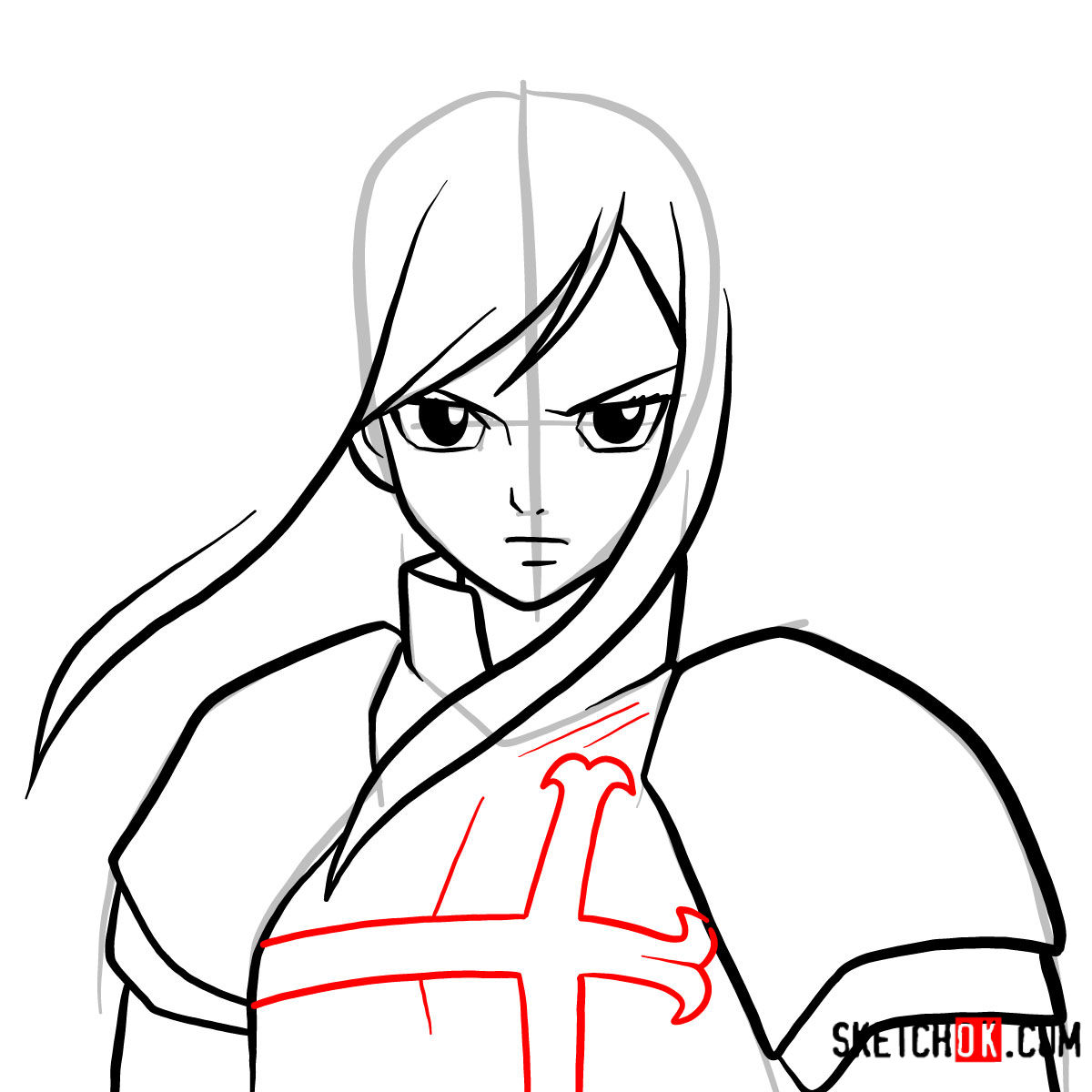 How to draw Erza Scarlet's portrait | Fairy Tail - step 06