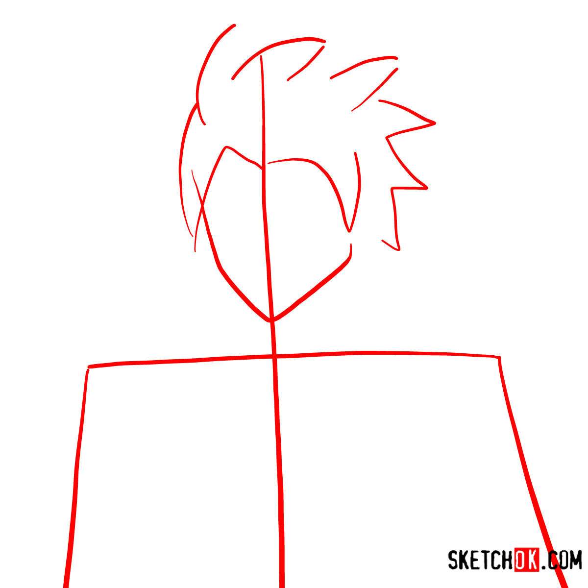How to draw Sting Eucliffe's face | Fairy Tail - step 01