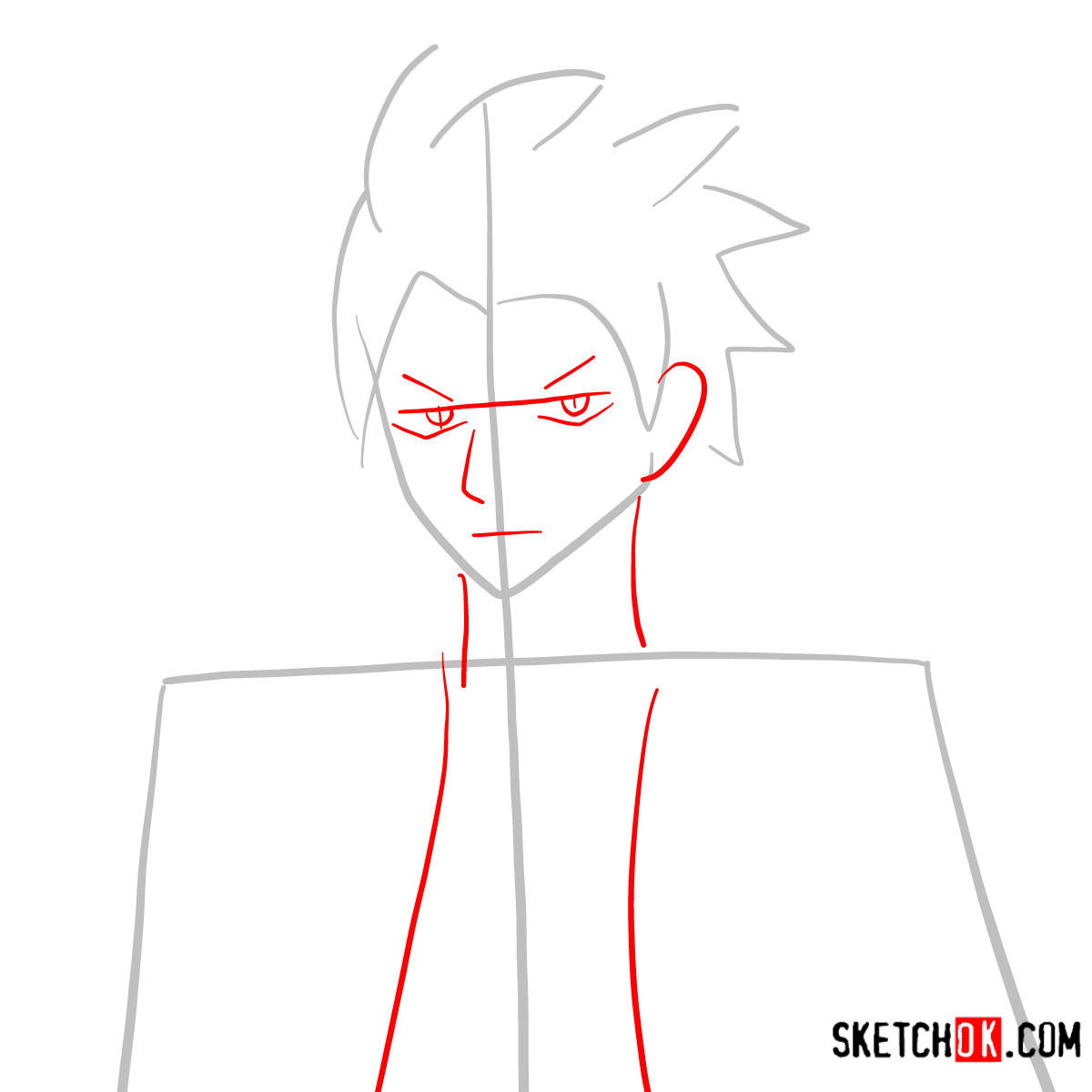 How to draw Sting Eucliffe's face | Fairy Tail - step 02