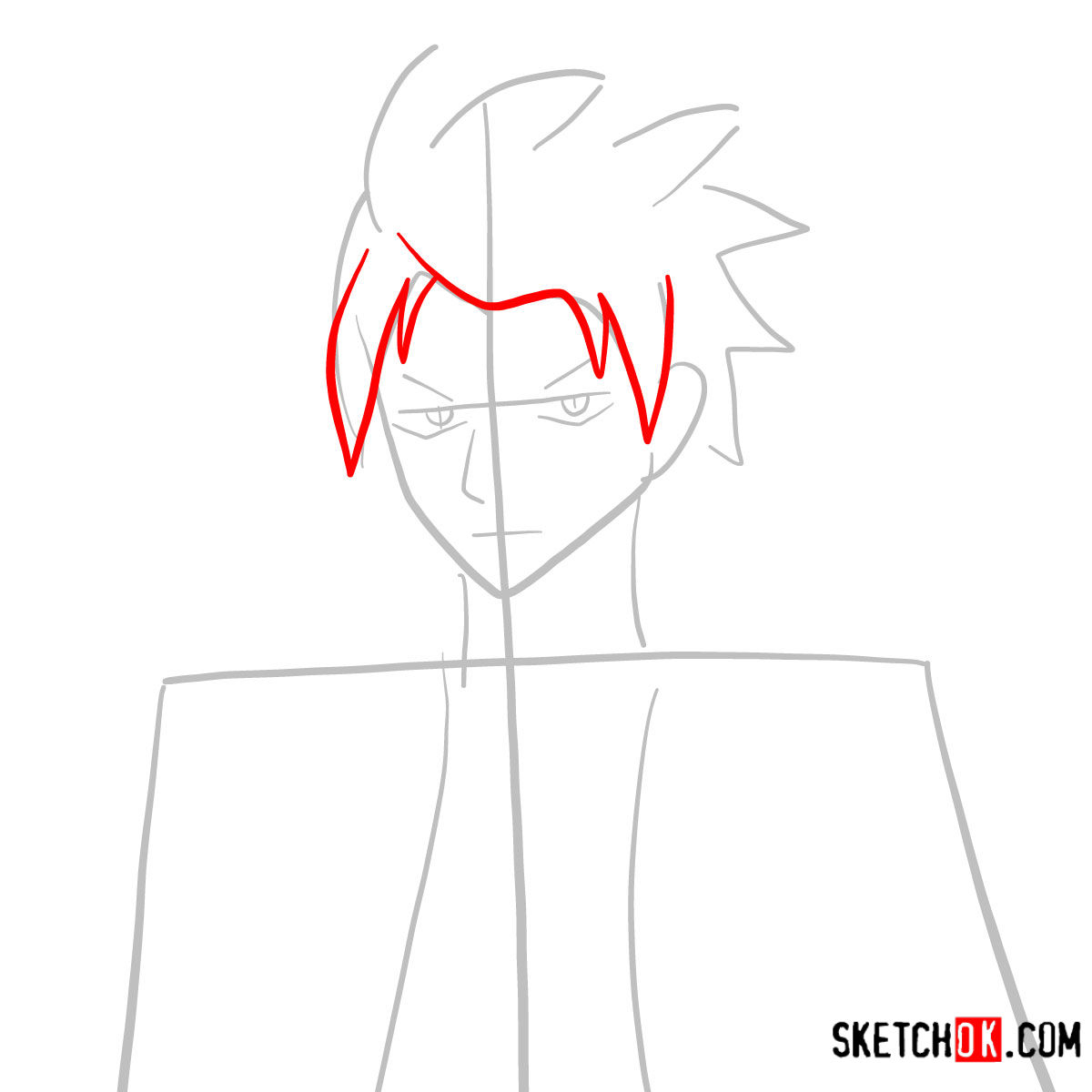 How to draw Sting Eucliffe's face | Fairy Tail - step 03