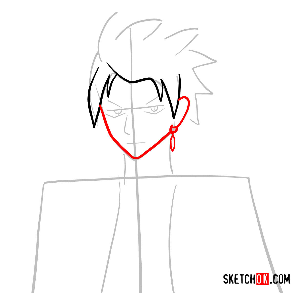 How to draw Sting Eucliffe's face | Fairy Tail - step 04