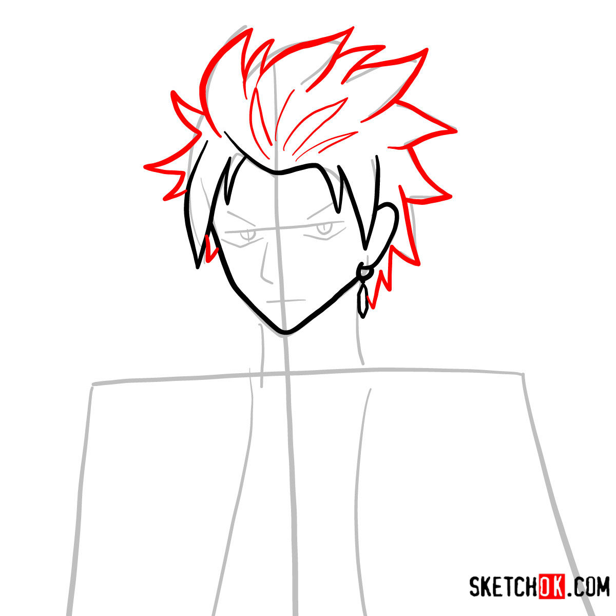 How to draw Sting Eucliffe's face | Fairy Tail - step 05