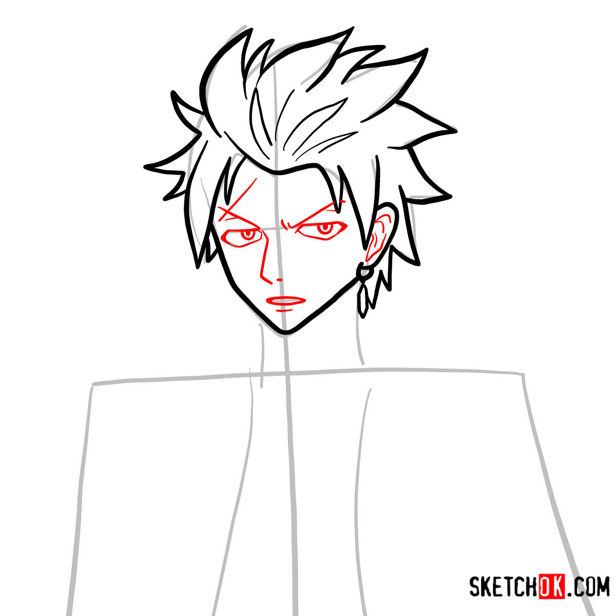How to draw Sting Eucliffe's face | Fairy Tail - step 06