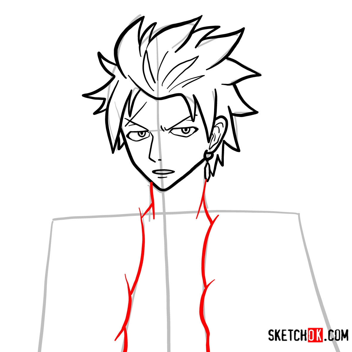 How to draw Sting Eucliffe's face | Fairy Tail - step 07