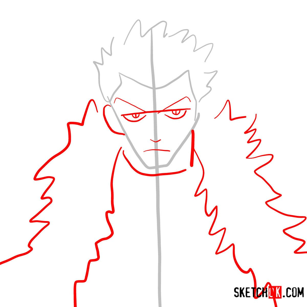 How to draw Laxus Dreyar's face | Fairy Tail - step 02