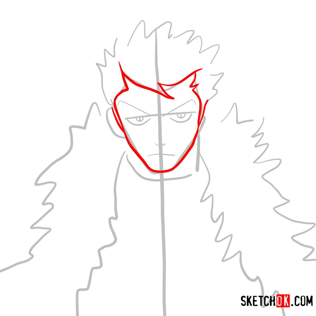 How to draw Laxus Dreyar's face | Fairy Tail - step 03