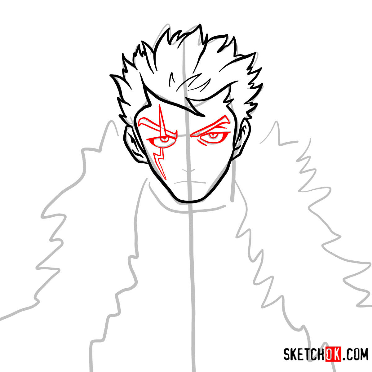 How to draw Laxus Dreyar's face | Fairy Tail - step 05