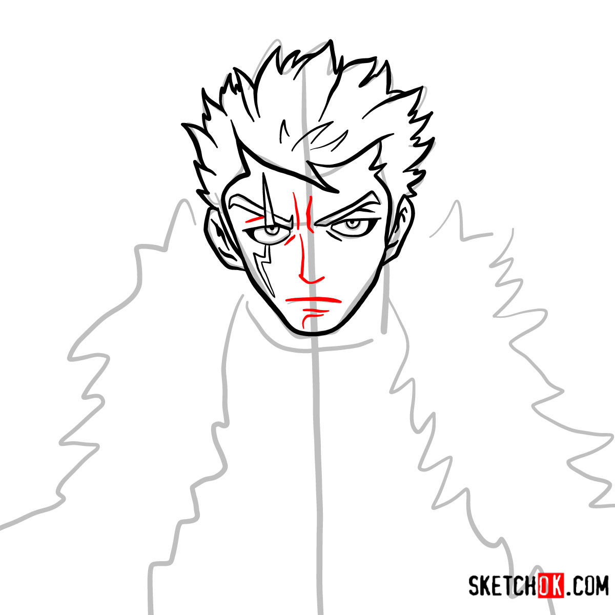 How to draw Laxus Dreyar's face | Fairy Tail - step 06