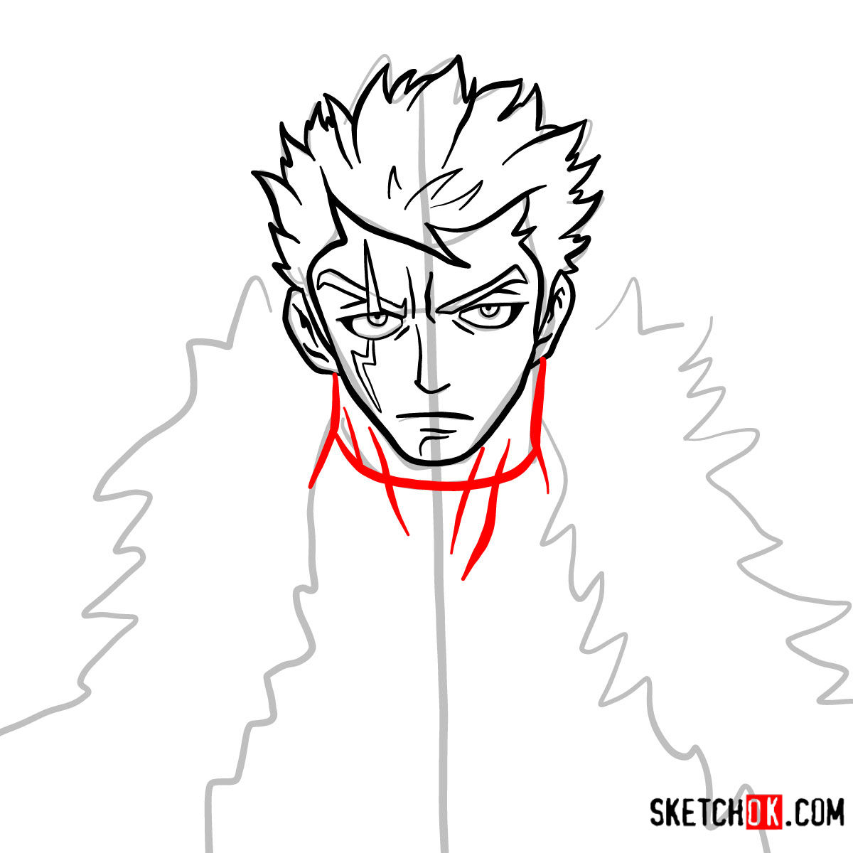 How to draw Laxus Dreyar's face | Fairy Tail - step 07