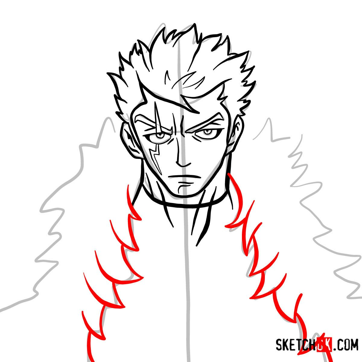 How to draw Laxus Dreyar's face | Fairy Tail - step 08