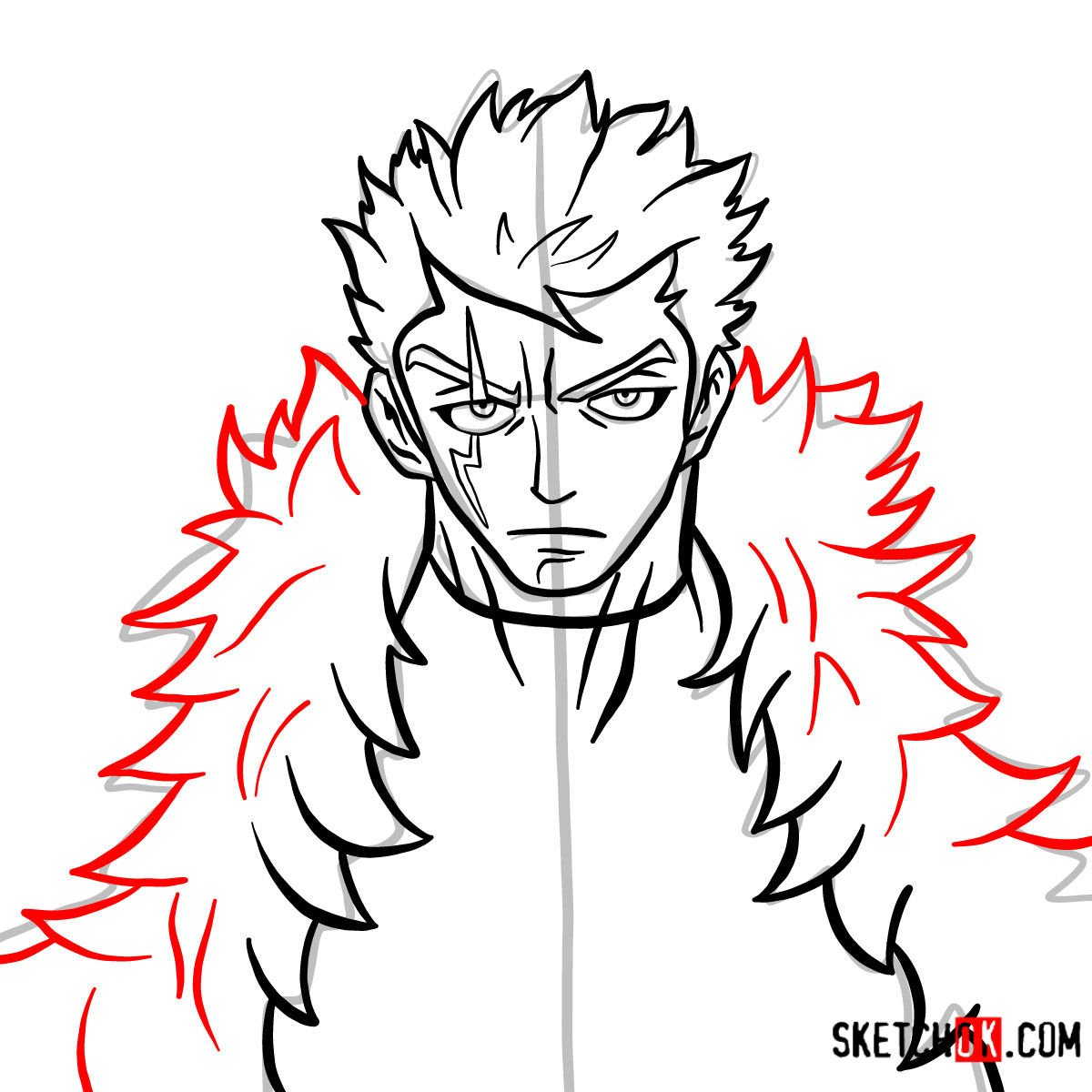 How to draw Laxus Dreyar's face | Fairy Tail - step 09
