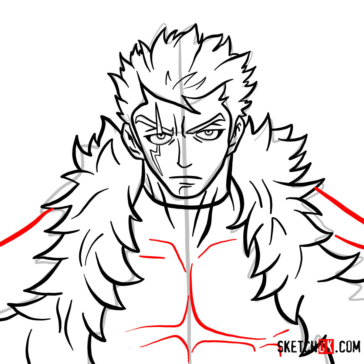 How to draw Laxus Dreyar's face | Fairy Tail - step 10