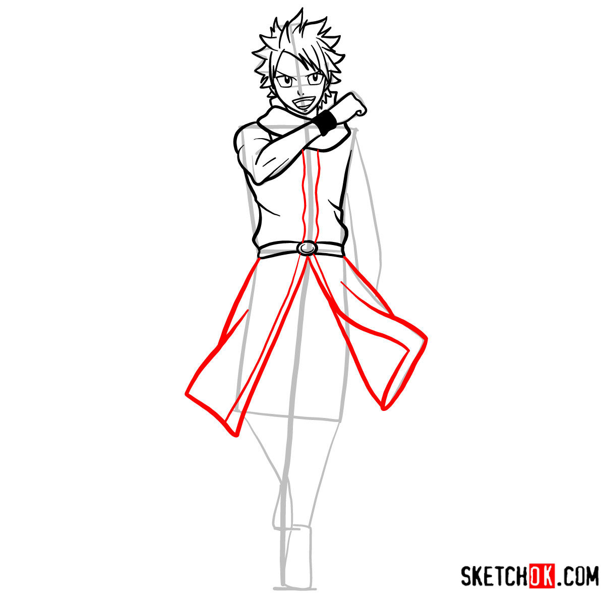 How to draw Natsu Dragneel full growth | Fairy Tail - step 09