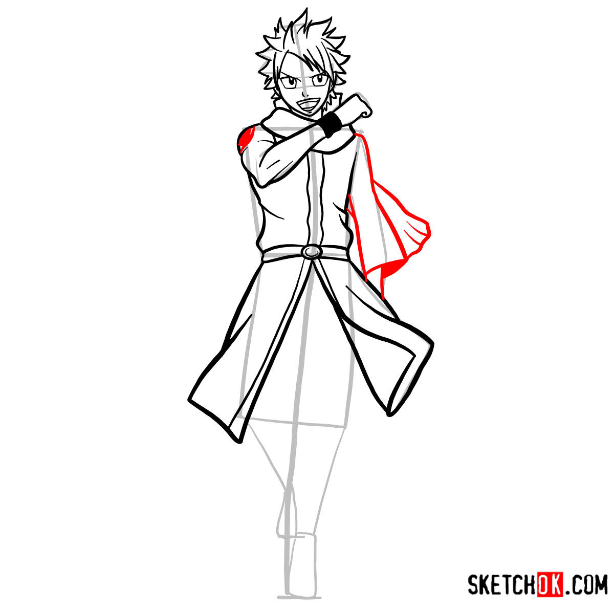 How to draw Natsu Dragneel full growth | Fairy Tail - step 10