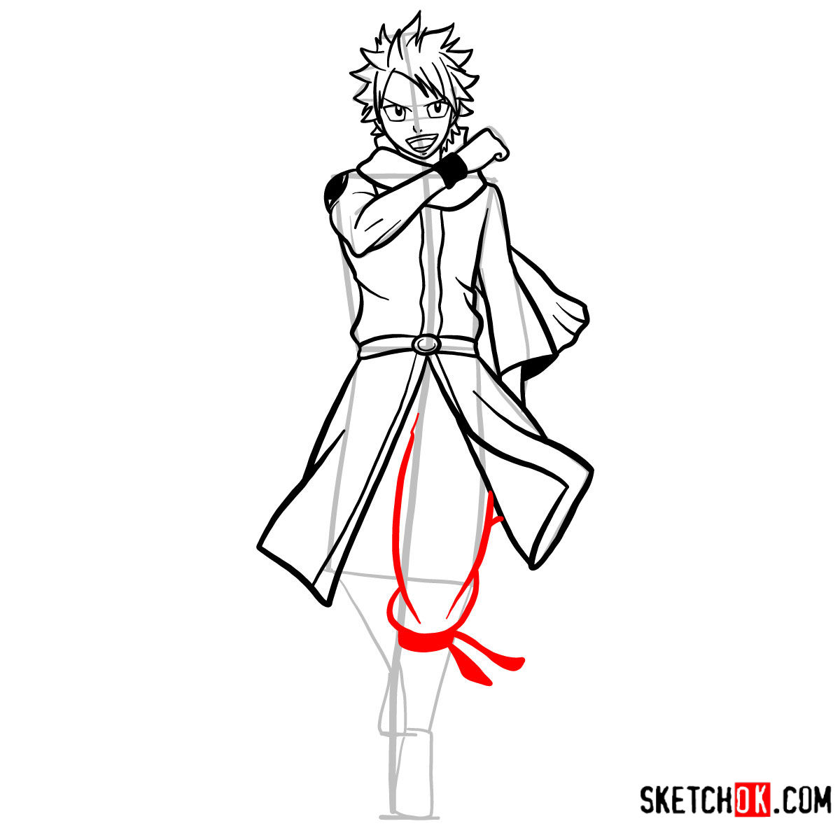 How to draw Natsu Dragneel full growth | Fairy Tail - step 11