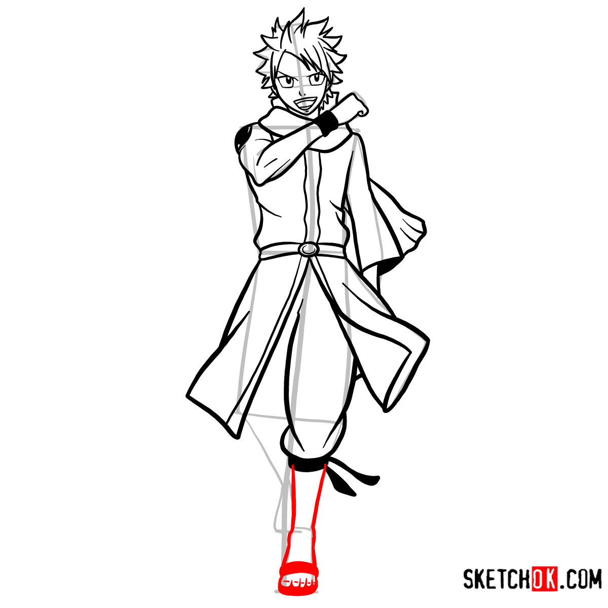 How to draw Natsu Dragneel full growth | Fairy Tail - step 12