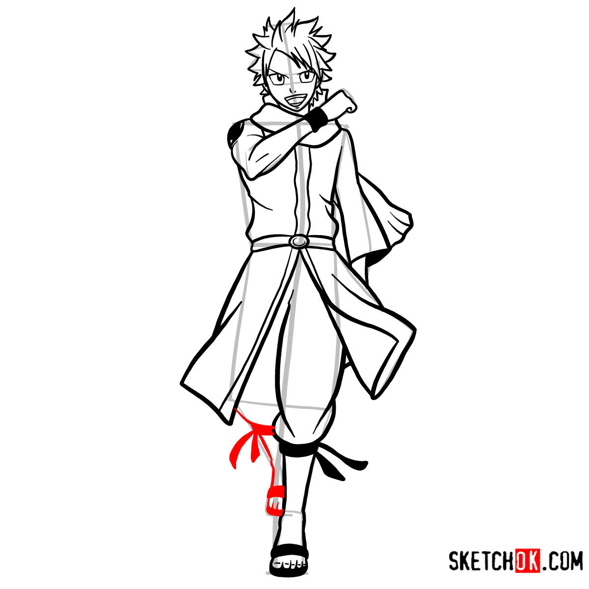 How to draw Natsu Dragneel full growth | Fairy Tail - step 13