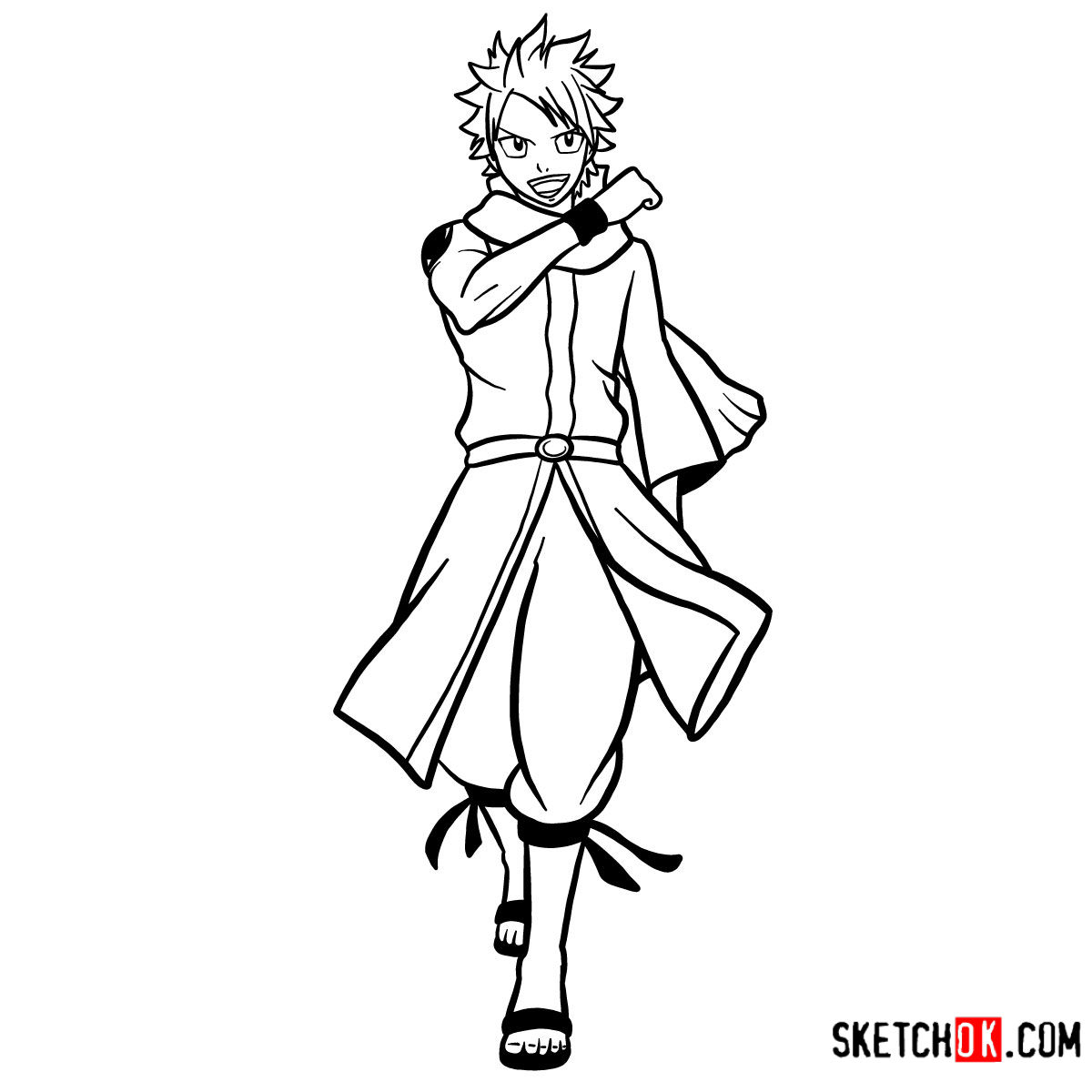 How to draw Natsu Dragneel full growth | Fairy Tail - coloring