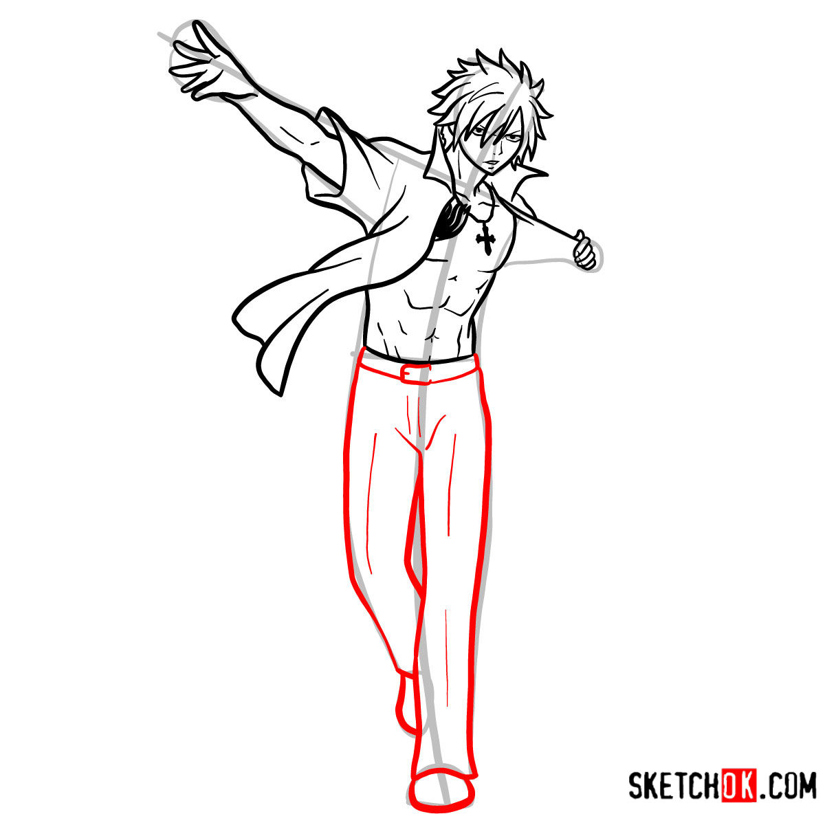 How to draw Gray Fullbuster full growth | Fairy Tail - step 12