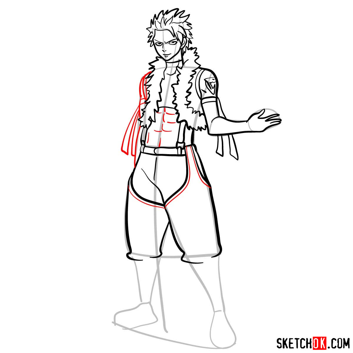 How to draw Sting Eucliffe full growth (fairy tail) - step 11