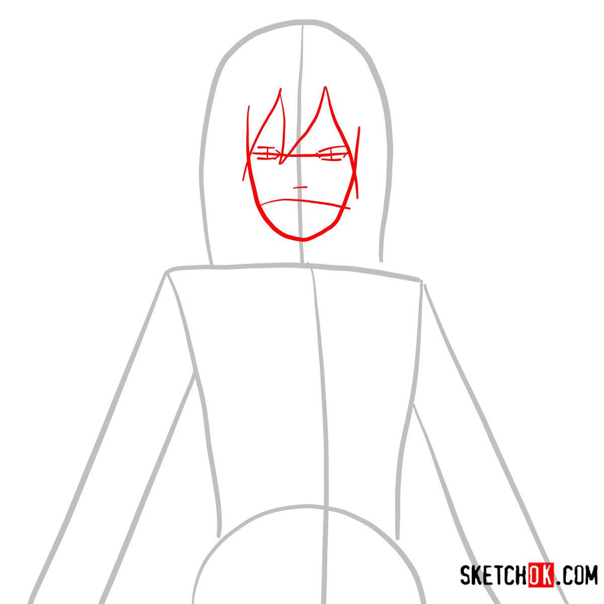 How to draw Mikasa Ackermann's face | Attack on Titan - step 02