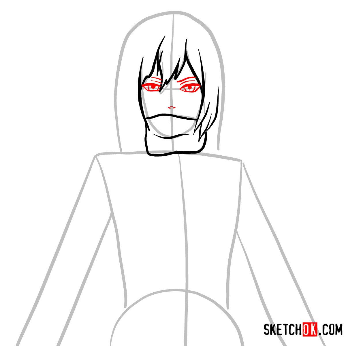 How to draw Mikasa Ackermann's face | Attack on Titan - step 04