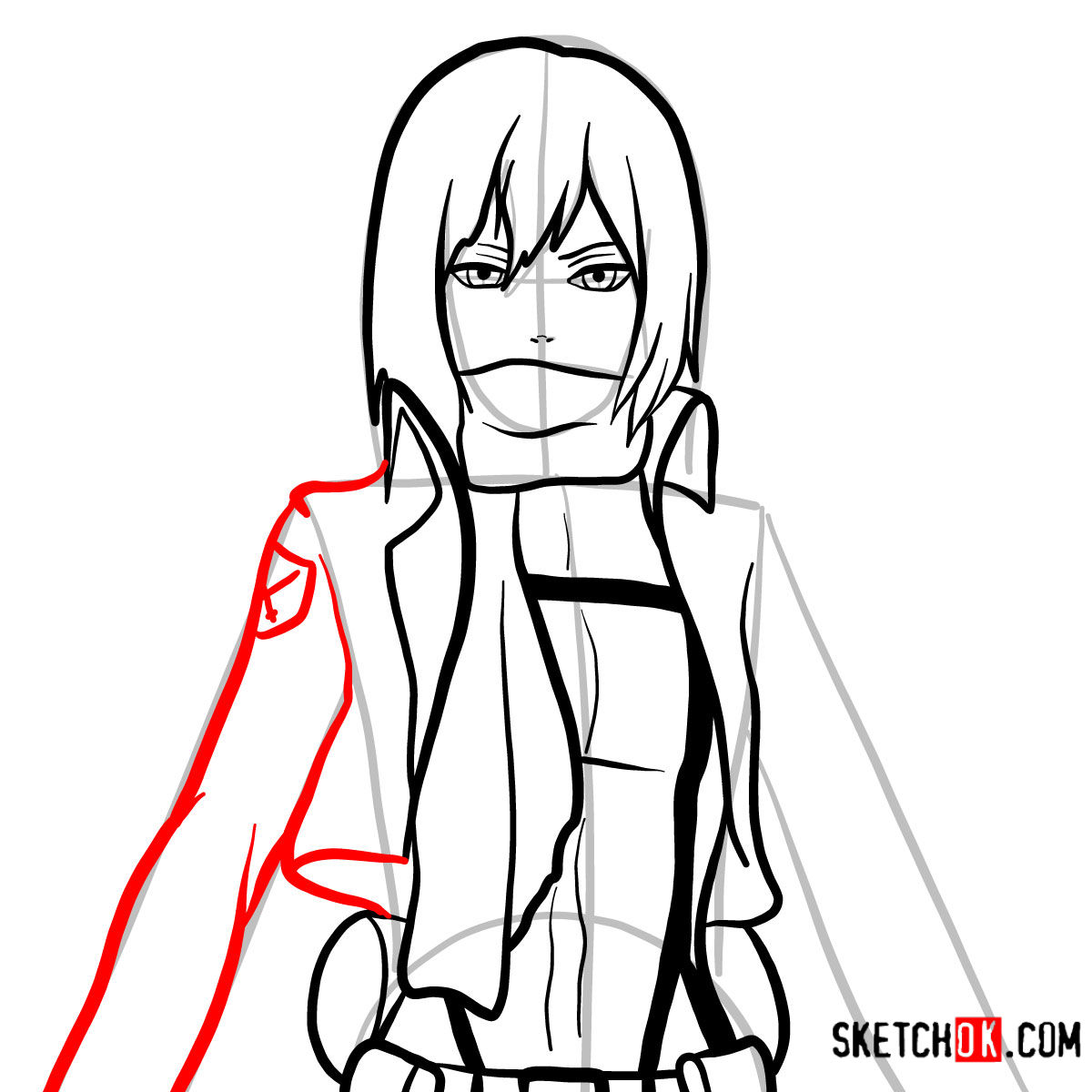 How to draw Mikasa Ackermann's face | Attack on Titan - step 08