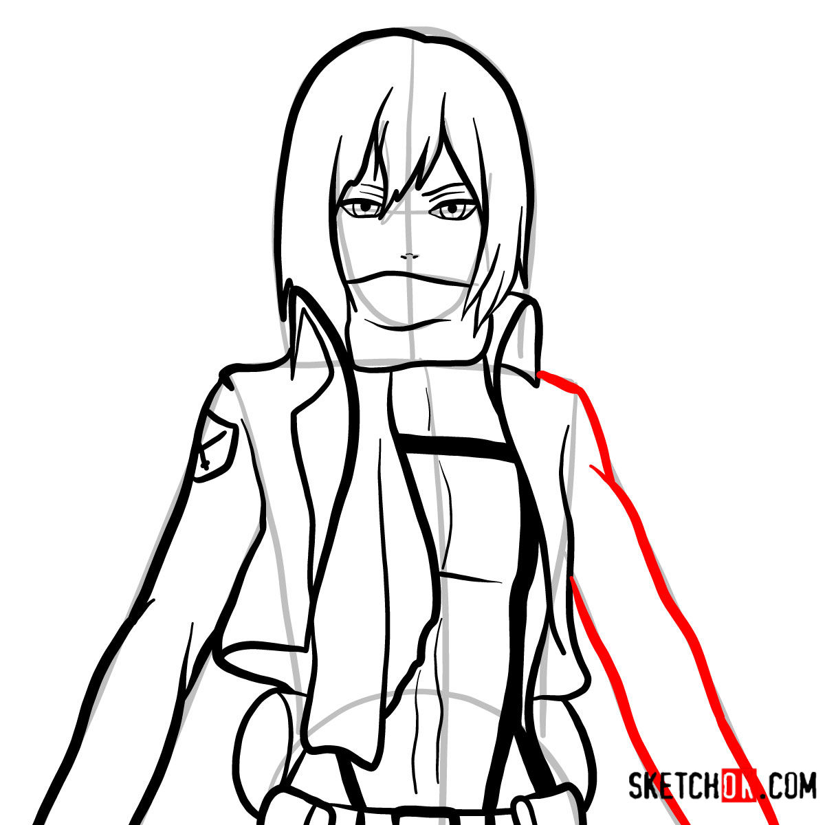 How to draw Mikasa Ackermann's face | Attack on Titan - step 09