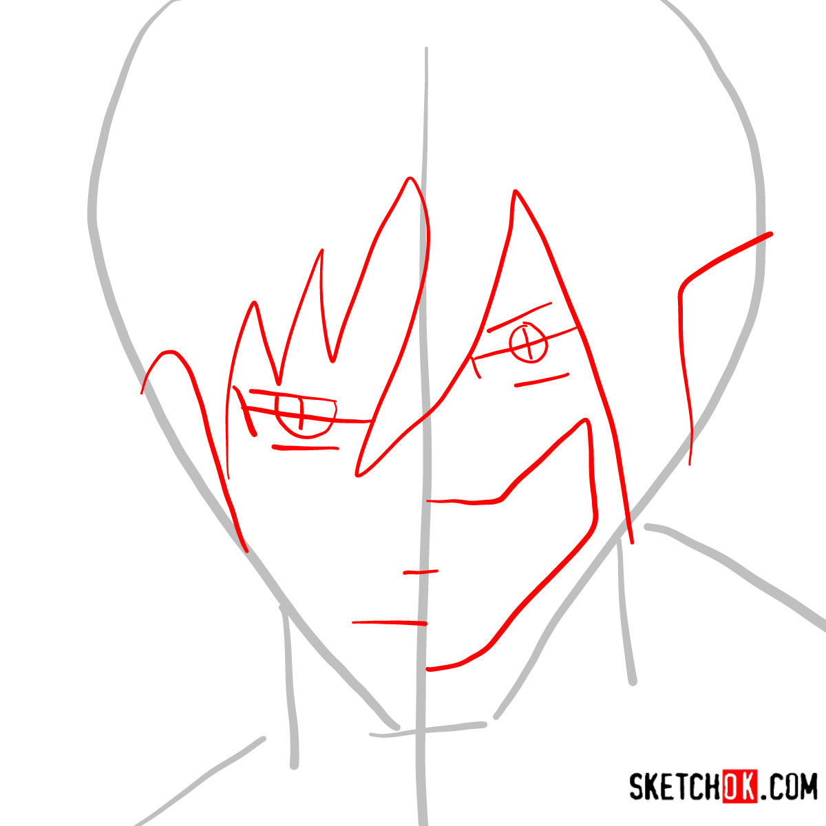 How to draw Eren Jaeger half human half titan - step 02