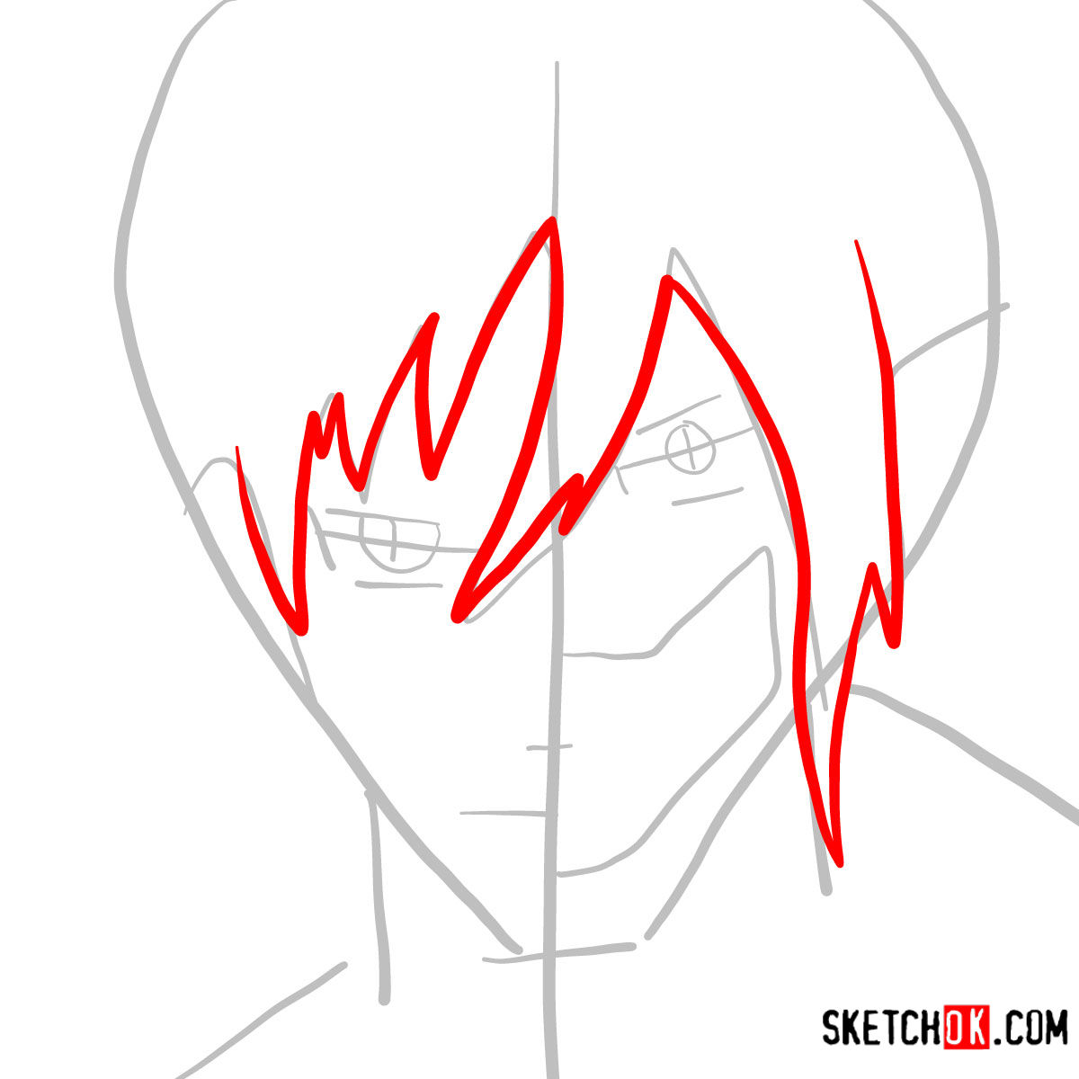 How to draw Eren Jaeger half human half titan - step 03