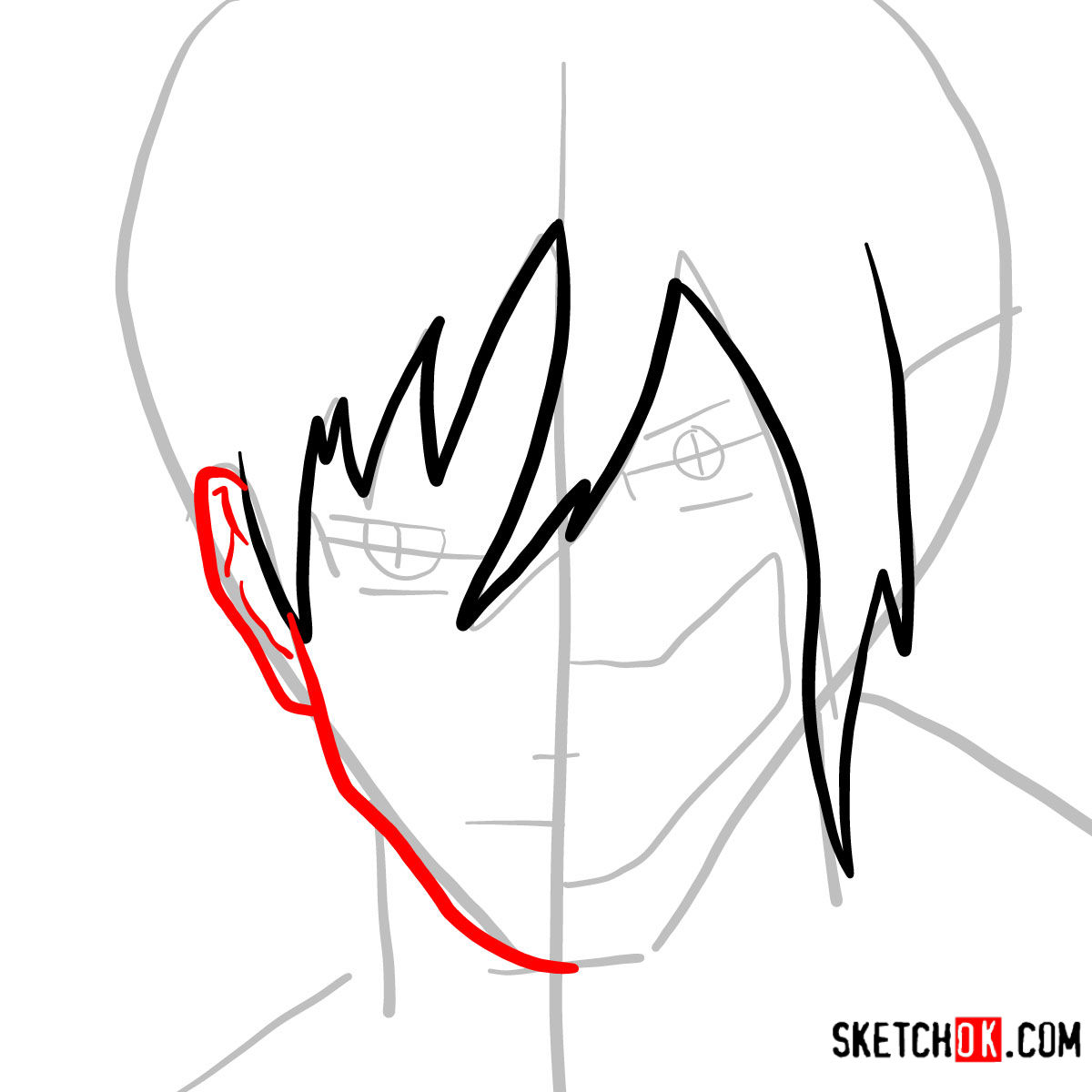 How to draw Eren Jaeger half human half titan - step 04