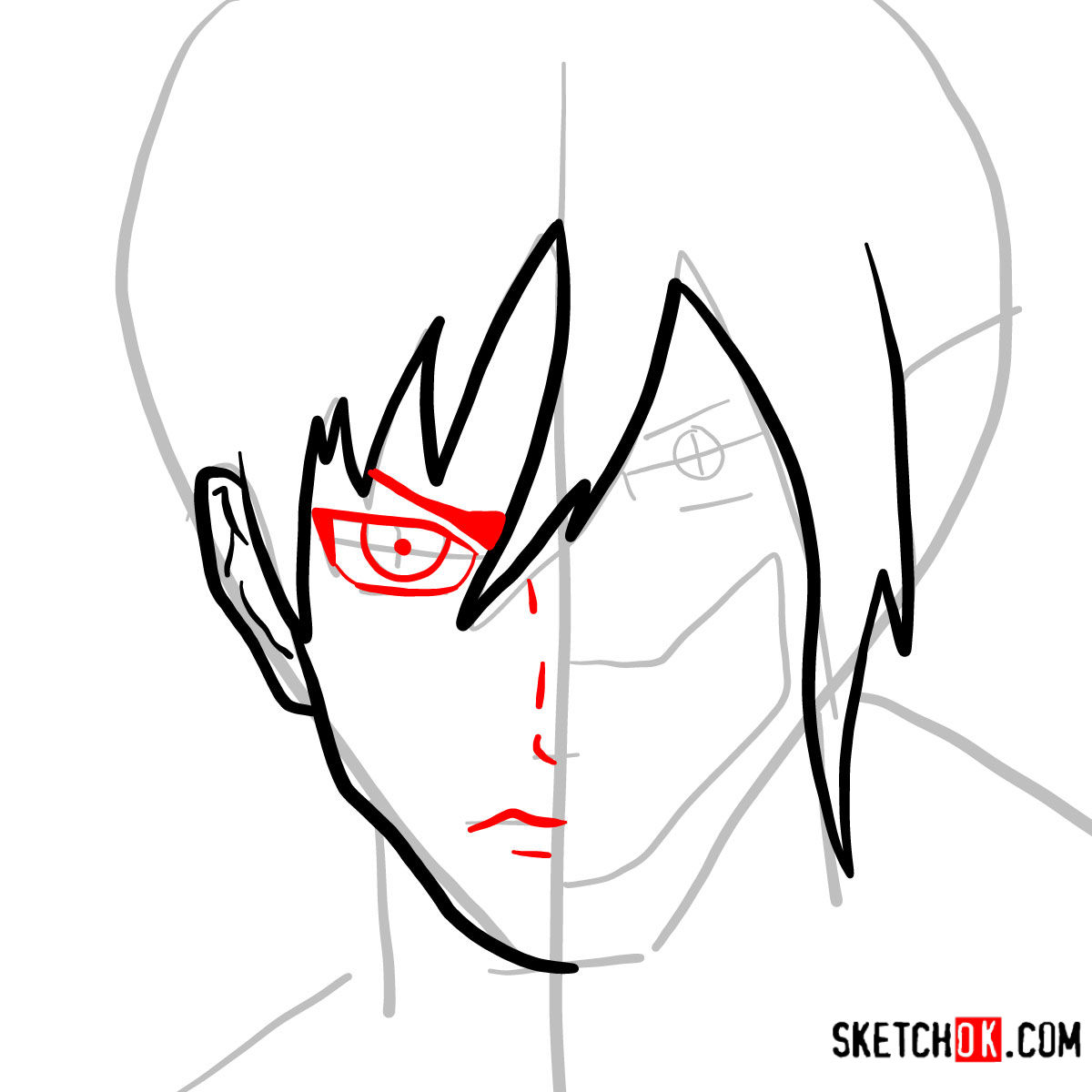 How to draw Eren Jaeger half human half titan - step 05